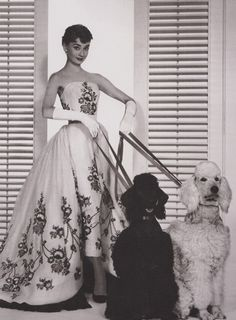 Audrey Hepburn in a dress by Hubert de Givenchy for the 1954 film Sabrina