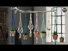 One of the easiest Macrame projects to get started with is a plant hanger. Decorate your house on a budget with 16 easy DIY Macrame plant hangers for beginners! Diy Macrame Wall Hanging, Modern Macrame, Pot Hanger, Hanging Pots, Hanging Baskets, Macrame Projects, Diy Projects, Macrame Patterns, Macrame Knots