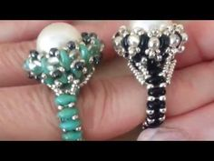 Elegant ring with superduos, Swarovski and 3mm beads. - YouTube