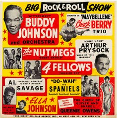 """Big Rock & Roll Show - Buddy Johnson & Chuck Berry"" Wonderful Vintage Concert Poster Art Print sold by Andromeda Print Emporium. Shop more products from Andromeda Print Emporium on Storenvy, the home of independent small businesses all over the world. 1950s Posters, Vintage Concert Posters, Vintage Posters, Vintage Movies, Vintage Stuff, Rock Roll, 1950s Rock And Roll, Rockabilly, Rock Vintage"