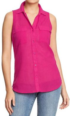Old Navy Sleeveless Linen-blend Shirts - Lyst