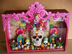 original, large, painted and embellished dia de los muertos shadow box Day Of The Dead Party, Day Of The Dead Skull, Day Of The Dead Diy, Halloween Crafts, Halloween Decorations, Altar Decorations, We Are The World, Mexican Folk Art, Skull Art