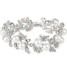 EVER FAITH® österreichisches Kristall künstliche Perle elegant Blätter  Armband Klar Silber-Ton N01549-1  Amazon.de  Schmuck 14d90009a6