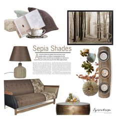 """Sepia Shades"" by eyesondesign ❤ liked on Polyvore featuring interior, interiors, interior design, home, home decor, interior decorating, TastemastersDesignGroup and eyesondesigninteriors"