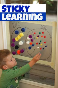 Use a few simple materials to have some sticky learning time! Adding the element of a vertical surface can completely transform patterning and sorting!
