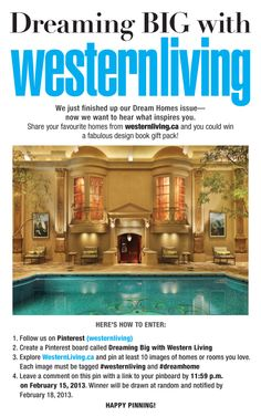 Deadline Feb 13: We just finished up our Dream Homes issue—now we want to hear what inspires you. Share your favourite homes and spaces from western living.ca and you could win a fabulous design book gift pack! More details at westernliving.ca/contests.html #contest #contests #win #prizes #dreamhomes #westernliving