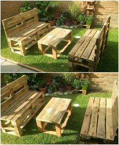 A much innovative style of pallet garden benches and table furniture set has been put together out in this image that is best idea to add in your household purposes. It is overall designed with the rustic use of the wood pallet art work designing in it that adds the whole finishing of the creation as superb looking.
