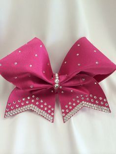 Aurora Cheer Bow Pink Fabric and Swarovkski AB Crystals on Etsy, $35.00