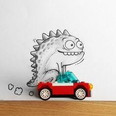 Funny Doodles Featuring a Dragon Playfully Interacting with Real Life Objects