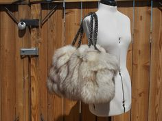 Real Natural White with Dark Tips Fox Bag with Leather Limited Time SALE USA #Handmade #Hobo