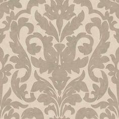 Dalarni Damask Pattern Wallpaper, Taupe, Double Roll - transitional - Wallpaper - Walls Republic