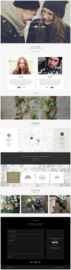 """'Yaga' is a WordPress theme that includes a (ready-to-install) One Page wedding layout option. PeHaa Themes have titled this lovely long-scrolling layout, """"The Date"""". Features include a sticky header navigation bar, parallax scrolling effects, a countdown timer leading to the big date, venue map with 4 design options, smart image carousal and a footer with an RSVP form."""