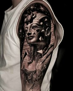 Dope Tattoos, Head Tattoos, Arm Tattoo, Body Art Tattoos, Tattoos For Guys, Pharaoh Tattoo, Anubis Tattoo, Tattoo Sleeve Designs, Sleeve Tattoos