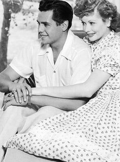 Desi Arnaz and Lucille Ball photographed for Panama Lady (1939).