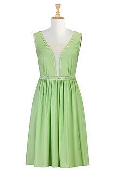 Dresses Clothing , Green Dress, modest clothing, @eshakti.com eshakti.com   1950's style dress, 1950's fashion, retro style clothing, spring 2013 fashion
