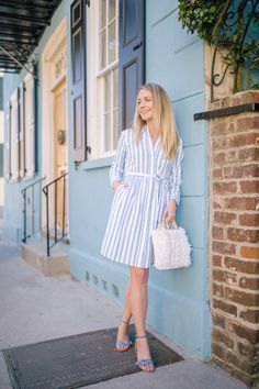 Easy blue and white spring outfit ideas to wear from day to night White Skirt Outfits, Midi Skirt Outfit, Spring Fashion Outfits, Spring Summer Fashion, Spring Style, Gingham Shoes, Spring Wear, Striped Shirt Dress, Spring Looks