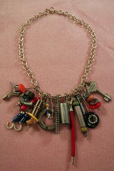 "DIY Junk Necklace- I would turn it a ""junk"" charm bracelet"