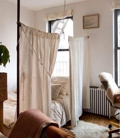 tiny apartment curtain divider