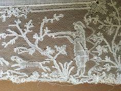 Collector's 19th Century Handmade Mechlin Bobbin Lace Handkerchief Hunt Scene | eBay