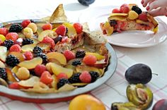 Levander cake with fruits Kitchen Stories, Fruit Salad, Pancakes, Breakfast, Food, Morning Coffee, Fruit Salads, Meal, Crepes