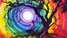 Chakra Painting Canvas Prints - Tree of Life Meditation Canvas Print by Laura Iverson Arte Chakra, Chakra Art, Chakra Healing, Psychedelic Art, Chakra Painting, Meditation Art, Meditation Images, Guided Meditation, Rainbow Art