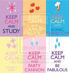 Keep Calm Fandom Badges: MLP my little pony cutie marks of twilight sparkle, applejack, rainbow dash, fluttershy, pinkie pie and rarity.