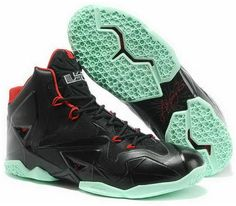 a129a1c58ba8 Nike Lebron 11 2013 Black Red Jade Running Shoes