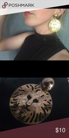 Lion Earrings Heavyweight gold disc earrings with lion cut-outs Jewelry Earrings