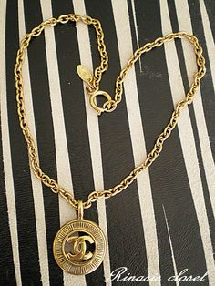 CHANEL, vintage, cc, coco, logo, gold, necklace, pendant, france, 80's, costume jewelry at HauteDecades on Etsy. $750.00, via Etsy.