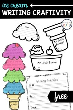 This FREE Ice Cream writing craftivity is the perfect activity to practice writing skills over the summer! Kids will love sequencing their summer days and vacation using this ice cream cone graphic organizer art project! Perfect for kindergarten, first and second graders! #summerwriting #sequencing #summervacation Work On Writing, Writing Practice, Writing Skills, Kindergarten Writing Activities, Preschool, Summer Activities For Kids, Summer Kids, Playdough To Plato, Hands On Learning