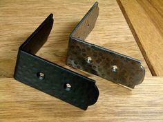 "Rustic, hammered Table Edge Corner Brackets - 1 1/2"" high - Black Powder Coat"