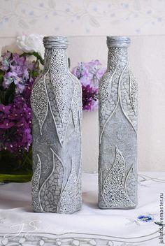 "Декоративная бутылка ""Серебро"". Handmade."