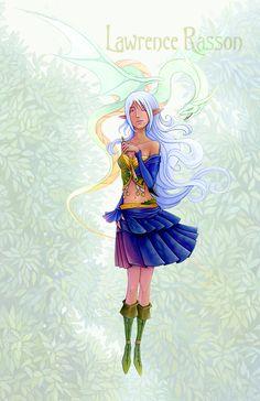 """Lundarielle"" An illustration from ""La République Invisible"". French translation of the Reverend Kirk's book (Elf-shot éditions) about Fairie's culture. Medium : Acrylic"