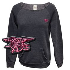 Alternative Maniac Eco-Fleece Sweatshirt - Eco-Navy - Embroidered Hot Pink Trident with Navy Topstitch on Left Front Chest - Embroidered Hot Pink/Light Pink American Flag on Upper Center Back - 6.49 o