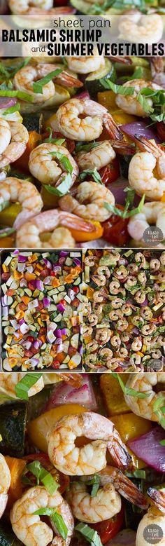 Sheet Pan Balsamic Shrimp and Summer Vegetables.