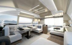 The #Interior #Design #MadeInItaly on board of the Ferretti #Yachts 550 New