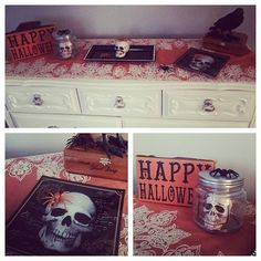 HAPPY HALLOWEEN !  In honor of this day I'm sharing a photo of my side table decor.  I purchased this table cloth from Marshalls for 16.99 knowing it would be suitable for both Halloween, and Thanksgiving decor.  The sign and raven are both also from Marshalls, I think 9.99 each.  The rest of the items I purchased at Michaels using my coupons   BTW : this dresser was one of my favorite DIY because I purchased it for only 25 dollars   #halloween #casachic #DIY #decor #JessiLing