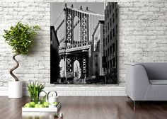 Black and white print in large wall art, New York in large Canvas art, Empire State Manhattan Bridge photography Nyc Decor, Paris Wall Decor, New York Bedroom, New York Poster, New York Black And White, New York Photography, Music Wall Art, Large Canvas Art, Fashion Wall Art