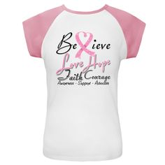 Breast Cancer Believe Love Hope Faith and Courage Cap Sleeve T-Shirts #BreastCancer #HeartRibbonGifts #BreastCancerAwareness