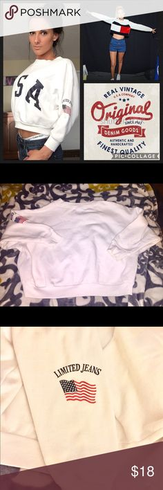 """USA Crop Vintage Sweatshirt🇺🇸 ➳  Vintage, Retro, 90s Authentic Vintage  ➳  """"Limited Jeans"""" Company  ➳  Size M but fits S-M (model is a XS-S)  ➳  Great condition, still very, very white- no stains, holes, flaws- only light piling Urban Outfitters Tops Crop Tops"""