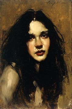 Head Study Brunette 2002, oil, 12 x 8. By Malcolm Liepke