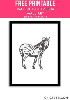 Free Printable Zebra Art from @chicfetti - easy wall art DIY