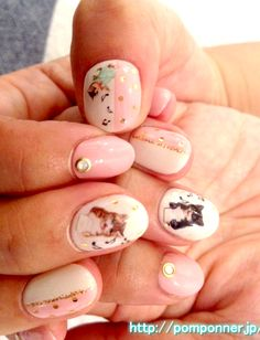 cats and music notes manicure // Pink White and Gold //