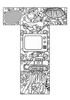 ➳➳➳☮American Hippie Art - Zentangle Coloring Page .. Lettering - Things that start with T