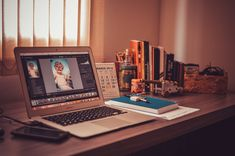#adobe photoshop #apple #books #computer #design #desk #freelance #home office #laptop #macbook #mockup #notebook #notepad #office #photo editing #screen #table #technology #royalty free images