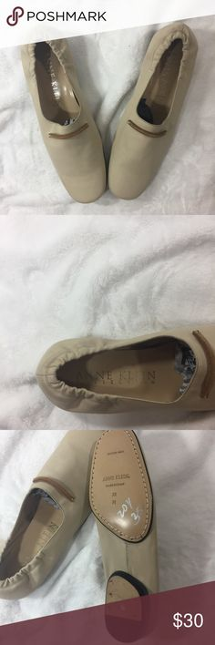 Women's Anne Klein Leather Flats Women's Anne Klein Leather Flats made in Italy Nude in color size 7.5 M Anne Klein Shoes Flats & Loafers