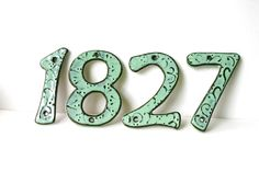 Outdoor House Numbers  SET OF 4  Aqua Mist Color by BackBayPottery, $60.00