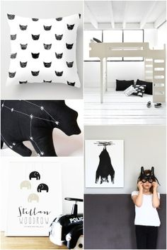 April and May hearts. Beautiful black & white collage with our Rafa-kids bunk bed .