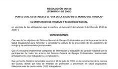SGSST | Resolución 166 2001día de la Salud en el Mundo del Trabajo