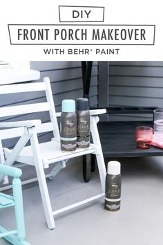 Ready to see the impact that a new coat of paint can make? Check out the before and after pictures from this DIY front porch makeover by Andrea, of Salty Canary. She used BEHR® Chalk Decorative Aerosol Paint in Classic Noir, Surf, and Tin White to refresh her outdoor furniture. It doesn't require primer, is easy to apply, and offers great coverage over new or previously coated surfaces. Click below for her full tutorial.